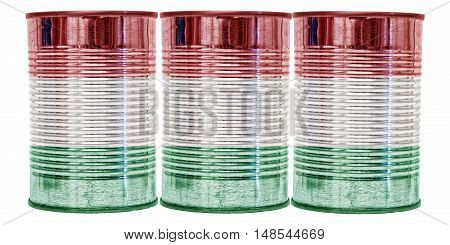 Three tin cans with the flag of Hungary on them isolated on a white background.