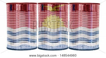 Three tin cans with the flag of Kiribati on them isolated on a white background.