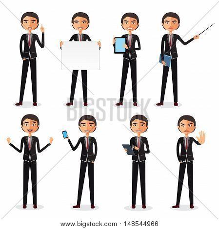 Set of business man in different poses isolated. Set of Happy office man. Vector illustration. set of businessman in different poses. manager.