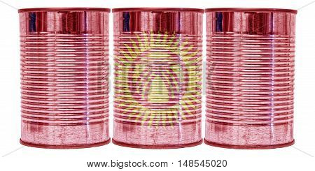 Three tin cans with the flag of Kyrgyzstan on them isolated on a white background.