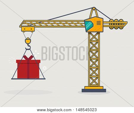Line icon style building crane lift gift present box.