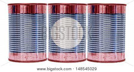 Three tin cans with the flag of Laos on them isolated on a white background.
