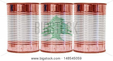 Three tin cans with the flag of Lebanon on them isolated on a white background.