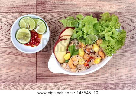 Fried rice with mixed vegetable and side dish.   Top view