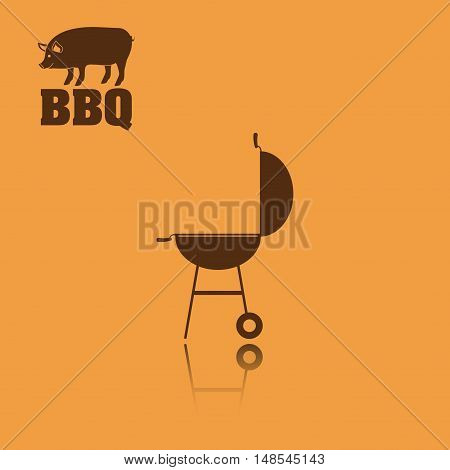 pork pig bbq and grill menu icon. Steak house food and restaurant theme. Vector illustration