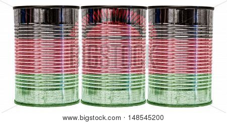 Three tin cans with the flag of Malawi on them isolated on a white background.