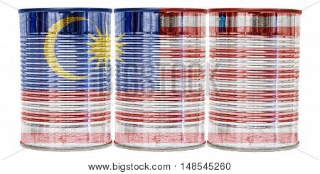 Three tin cans with the flag of Malaysia on them isolated on a white background.