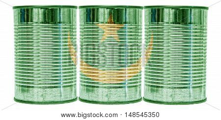 Three tin cans with the flag of Mauritania on them isolated on a white background.