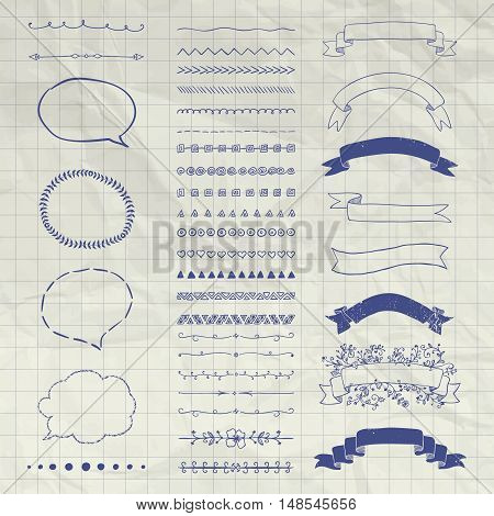 Set of Black Hand Drawn Doodle Design Elements. Rustic Decorative Borders, Dividers, Swirls, Sunbursts, Speech Bubbles, Ribbons, Objects on Crumpled Notebook Texture. Vector Illustration