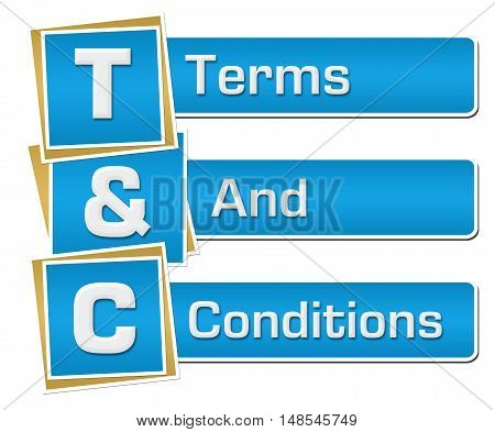 T and C - Terms and conditions text alphabets written over blue background.