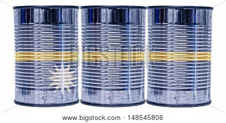 Three tin cans with the flag of Nauru on them isolated on a white background.