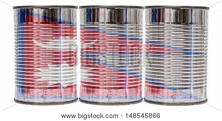 Three tin cans with the flag of Nepal on them isolated on a white background.