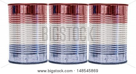 Three tin cans with the flag of Netherlands on them isolated on a white background.