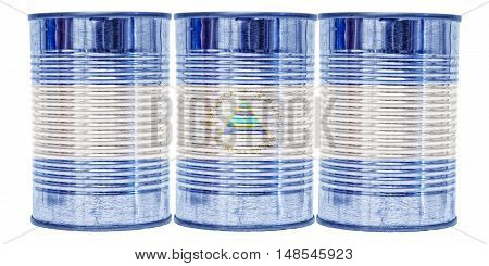 Three tin cans with the flag of Nicaragua on them isolated on a white background.