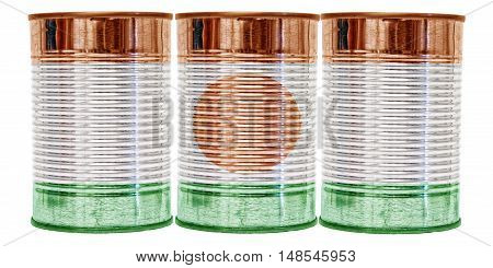 Three tin cans with the flag of Niger on them isolated on a white background.