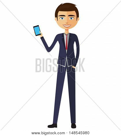 Cute young business man talking the phone. Smiling man standing with phone flat cartoon vector illustration. Eps10. Isolated on a white background.