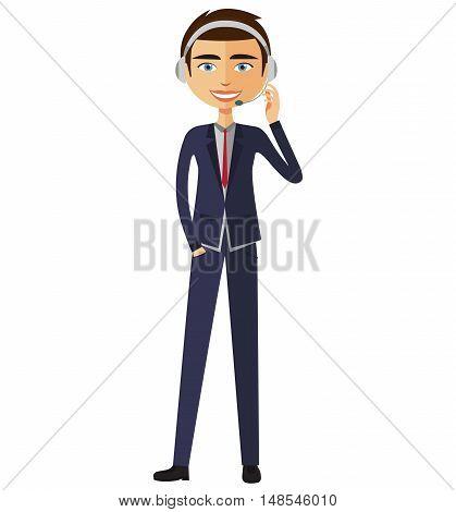 Customer Service Call Center Operator On Duty. Man customer service vector illustration.