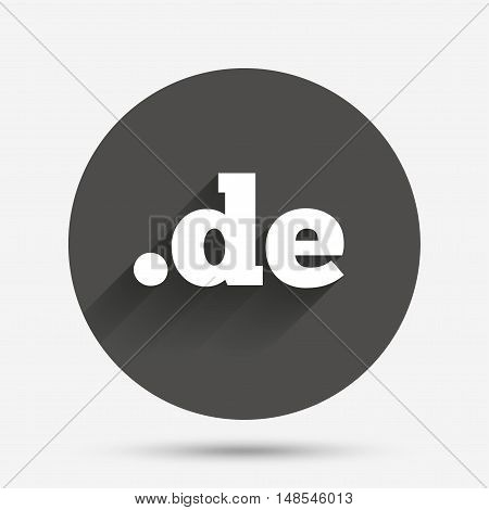 Domain DE sign icon. Top-level internet domain symbol. Circle flat button with shadow. Vector