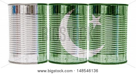 Three tin cans with the flag of Pakistan on them isolated on a white background.