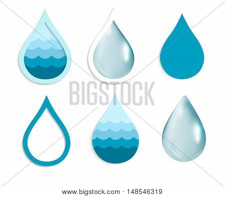 Vector Water Drops Icon Set symbol abstract blue