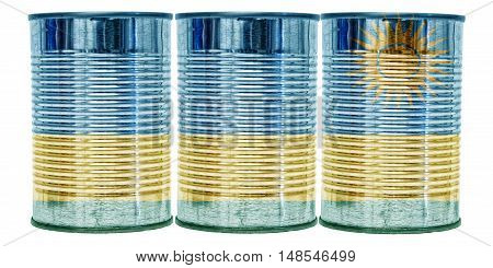 Three tin cans with the flag of Rwanda on them isolated on a white background.