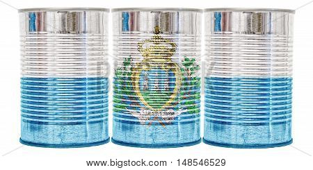 Three tin cans with the flag of San Marino on them isolated on a white background.