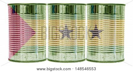 Three tin cans with the flag of Sao Tome and Principe on them isolated on a white background.