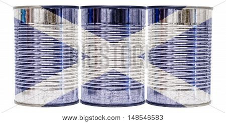Three tin cans with the flag of Scotland on them isolated on a white background.