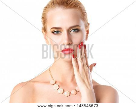 Portrait of stylish woman with beautiful necklace on white background