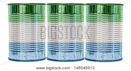 Three tin cans with the flag of Sierra Leone on them isolated on a white background.