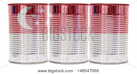 Three tin cans with the flag of Singapore on them isolated on a white background.