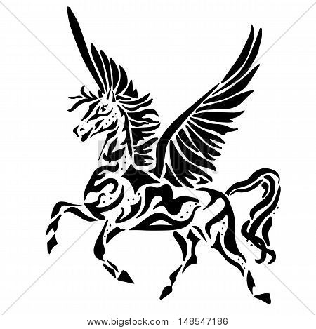 pegasus for coloring or tattoo isolated on white background