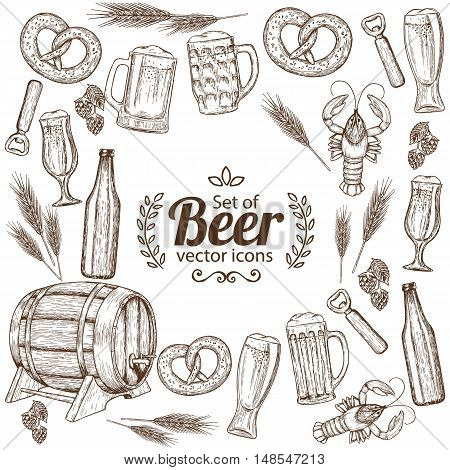 Background of sketch vintage beer icons with round frame. Template for packaging cards posters menu. Vector stock illustration.