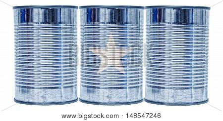 Three tin cans with the flag of Somalia on them isolated on a white background.