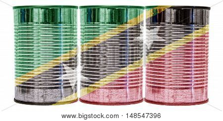 Three tin cans with the flag of St Kitts and Nevis on them isolated on a white background.