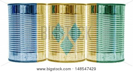 Three tin cans with the flag of St Vincent and The Grenadines on them isolated on a white background.