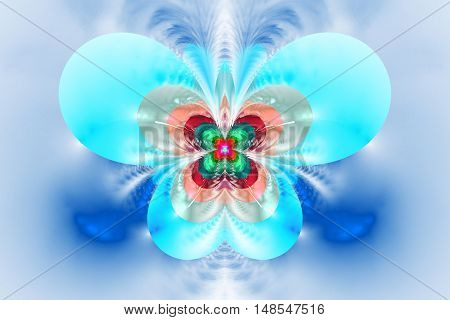 Abstract exotic flower on white background. Symmetrical pattern in bright red blue pink and green colors. Fantasy fractal design for posters wallpapers or t-shirts. Digital art. 3D rendering.