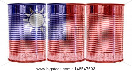 Three tin cans with the flag of Taiwan on them isolated on a white background.