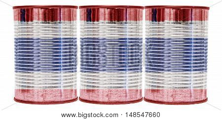 Three tin cans with the flag of Thailand on them isolated on a white background.