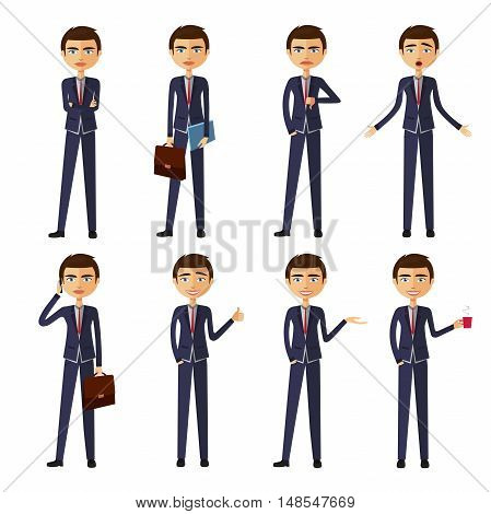 set of businessman in different poses. manager flat cartoon vector illustration. Eps10. Isolated on a white background.