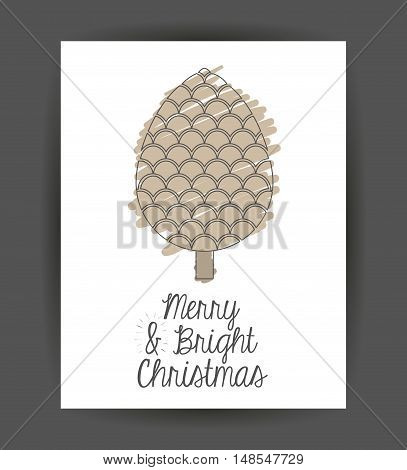 pinecone inside frame icon. Merry Christmas season and decoration theme. Sketch and draw design. Vector illustration