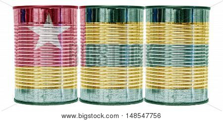 Three tin cans with the flag of Togo on them isolated on a white background.