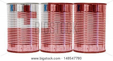 Three tin cans with the flag of Tonga on them isolated on a white background.