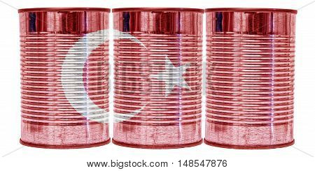 Three tin cans with the flag of Turkey on them isolated on a white background.