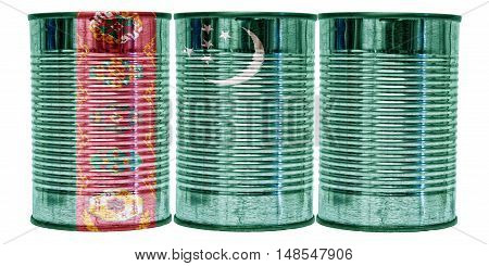 Three tin cans with the flag of Turkmenistan on them isolated on a white background.