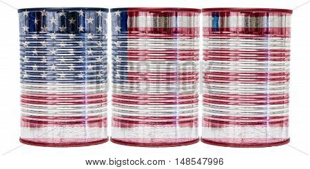 Three tin cans with the flag of United States of America on them isolated on a white background.