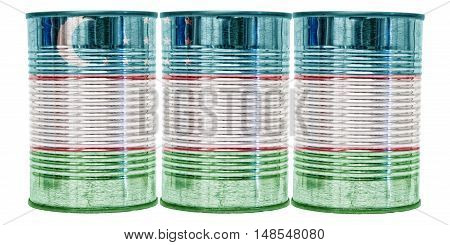 Three tin cans with the flag of Uzbekistan on them isolated on a white background.