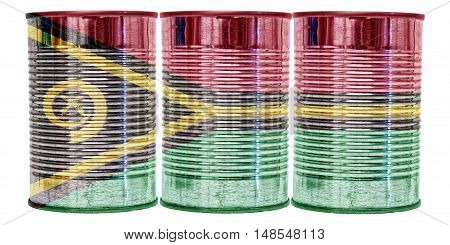 Three tin cans with the flag of Vanuatu on them isolated on a white background.