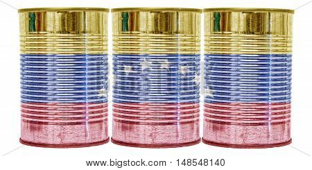 Three tin cans with the flag of Venezuela on them isolated on a white background.