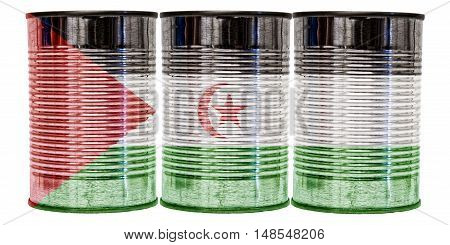 Three tin cans with the flag of Western Sahara on them isolated on a white background.